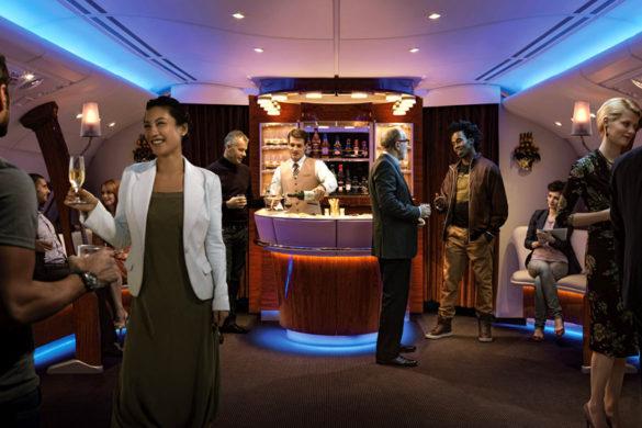Der Airbus A380 hat eine eigene Bar. (c) Emirates.com