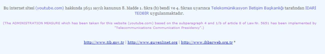 Diesen Hinweis habe ich 2014 in Istanbul bekommen. Damals war YouTube in der Türkei gesperrt.